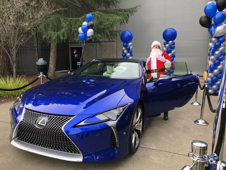 Santa with Lexus SC500 in VIAVI Structural Blue
